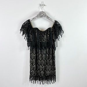 NWT Stone Cold Fox Black Eyelet Dress Strapless